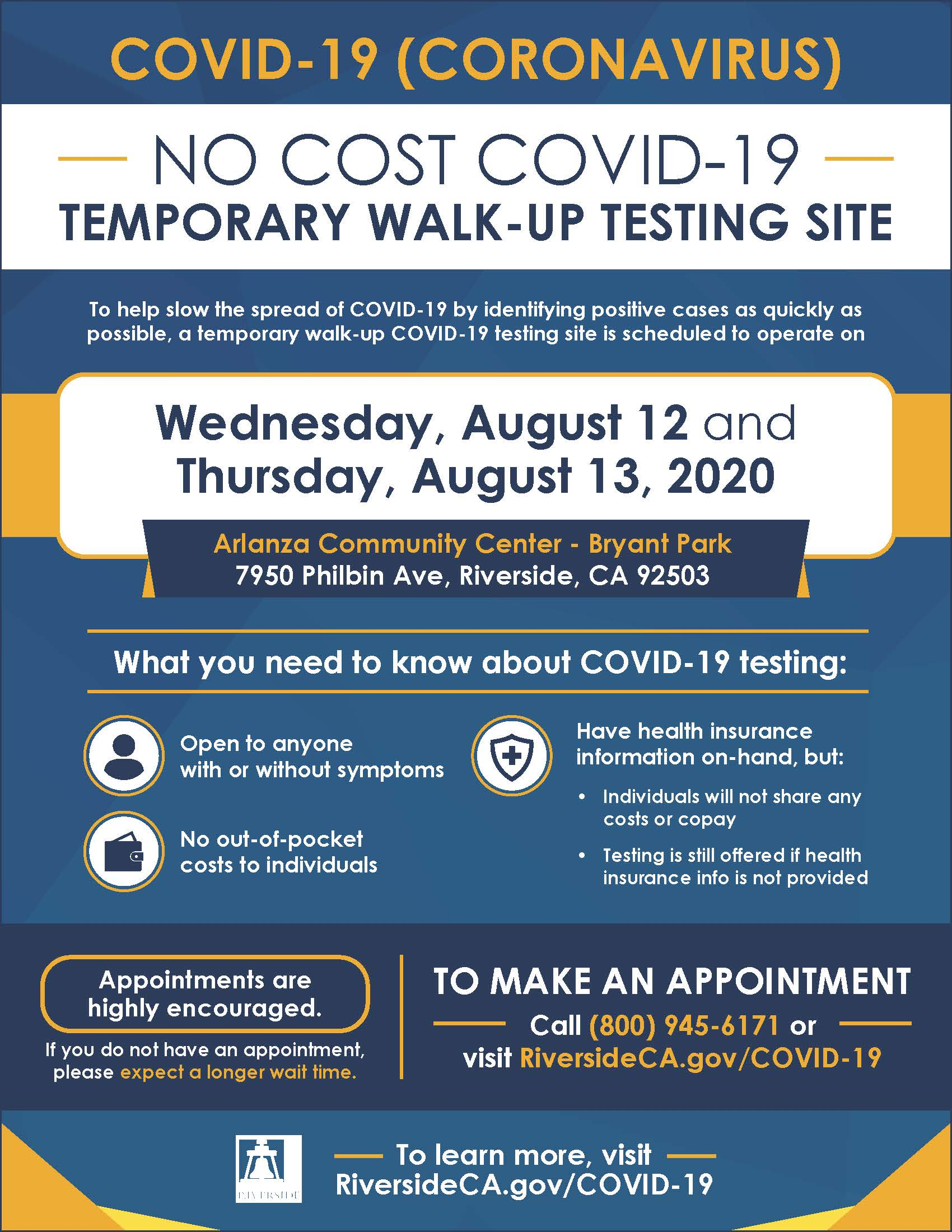 No Cost COVID-19 Testing Aug 12 and 13 at Arlanza Community Center