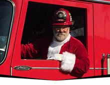 Santa Claus in Fire Truck